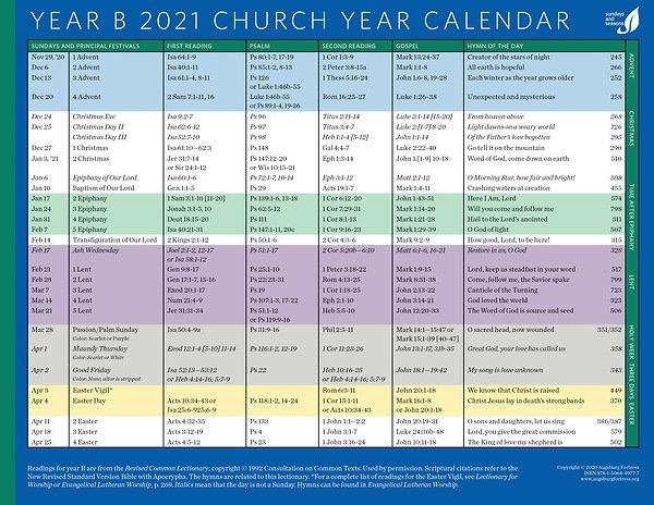 Church Year Calendar 2021, Year B in Calendar For Church Paraments