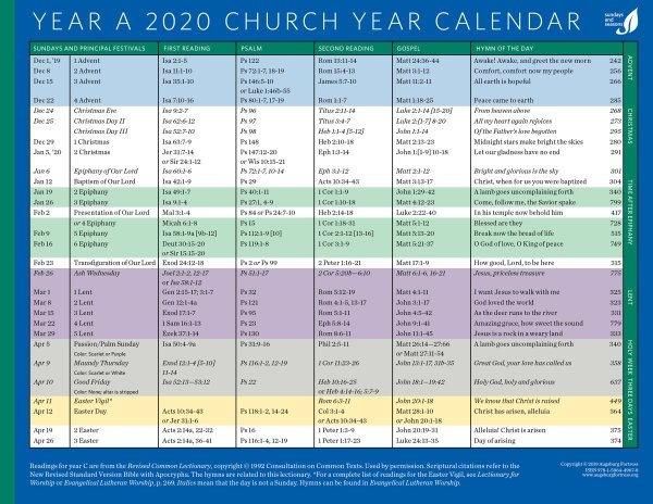 Church Year Calendar, Year A 2020: Downloadable | Augsburg for Calendar For Church Paraments Image