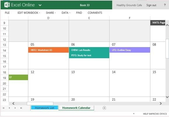 Color-Code Your Homework And See It Reflected In The in Color Coded Excel Calendar Photo