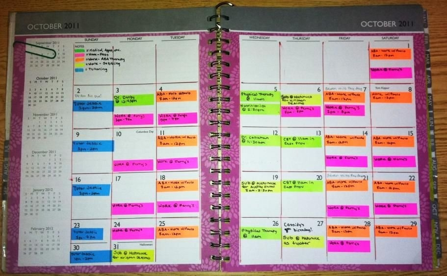 Color Coded Calendar Use Sticky Flags That Are Color inside Color Coded Schedule Template