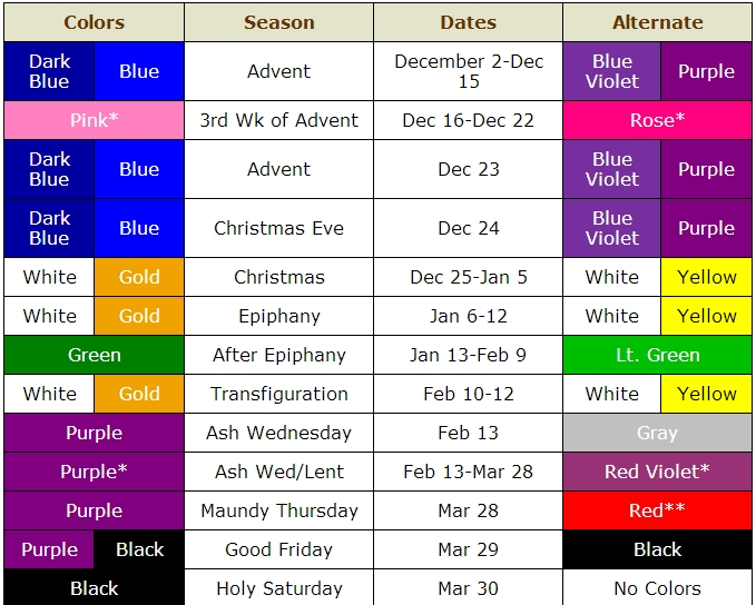 Colors Of The Church Year And Seasonal Dates for Methodist Parament Colors Calendar