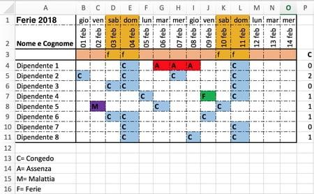 Come Pianificare Le Ferie Su Excel - Ccm with Piano Ferie Modelli Da Scaricare Image
