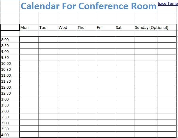 Conference Room Scheduling Template Excel - Microsoft Excel pertaining to Calendar Template For Scheduling A Conference Room Image