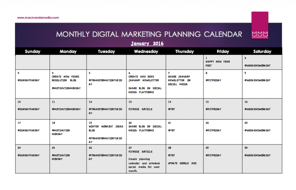 Content Calendar Template - Free Download - Macmanda Media within Newsletter Content Calendar Template Photo