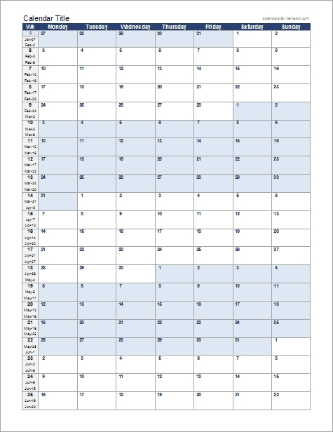 Continuous Monthly Calendar For Excel inside Print 90 Day Calendar