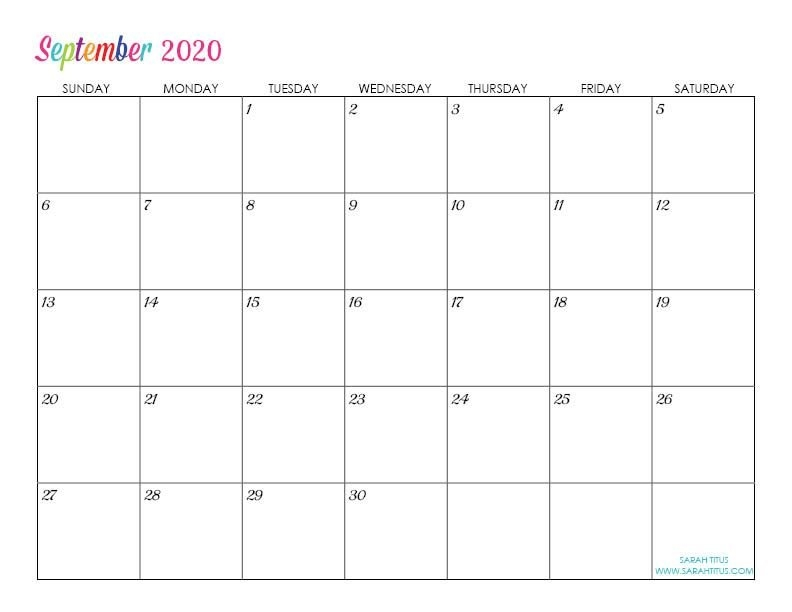 Custom Editable 2020 Free Printable Calendars | Editable in Free Calendar Typeable Template
