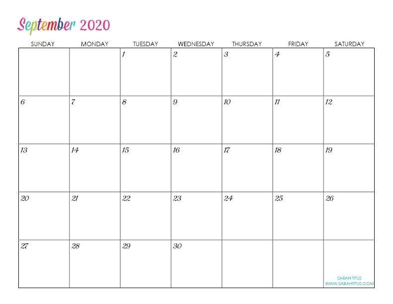 Custom Editable 2020 Free Printable Calendars | Editable in Free Large Block Printable Calendars