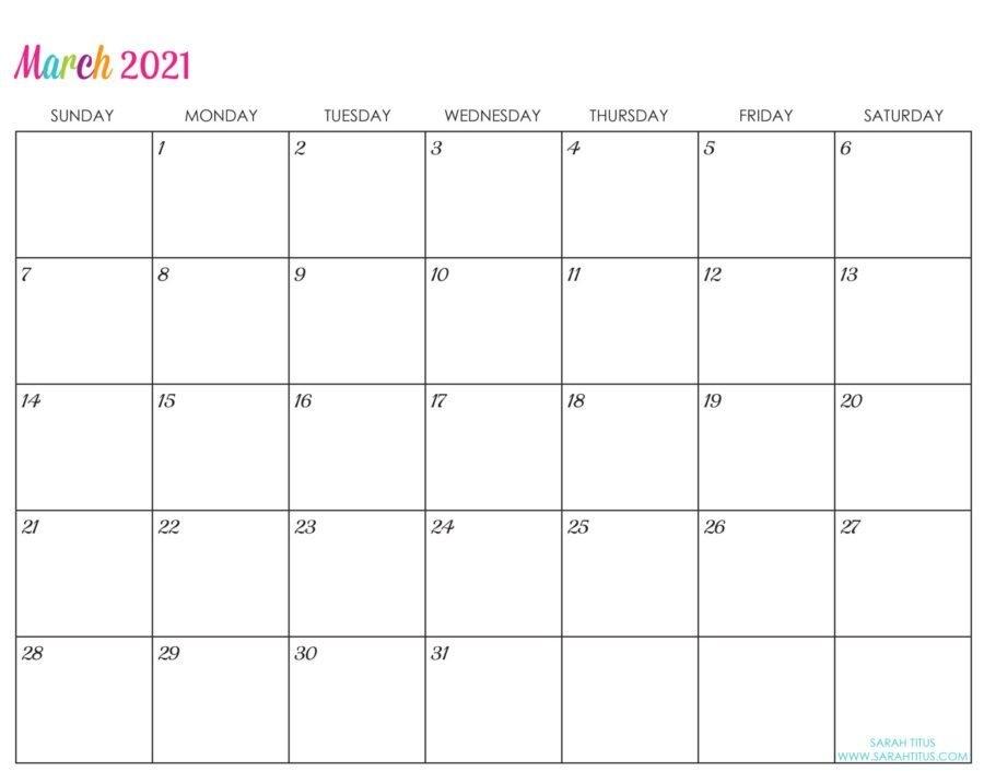 Custom Editable 2021 Free Printable Calendars - Sarah Titus with Free Printable Calendars