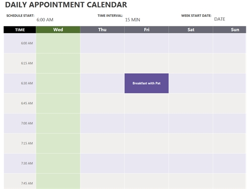 Daily Appointment Calendar for Diary Template Printable Times Appointment Image