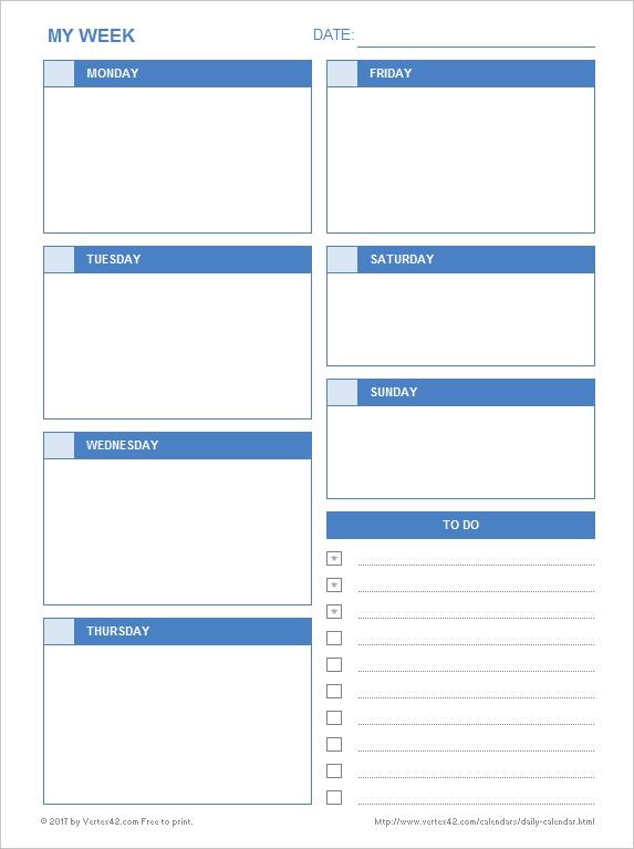 Daily Calendar - Free Printable Daily Calendars For Excel inside Single Day Calendar Printable