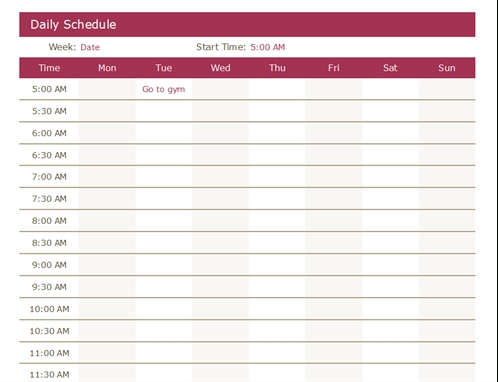 Daily Schedule pertaining to Printable Single Day Calendar Image