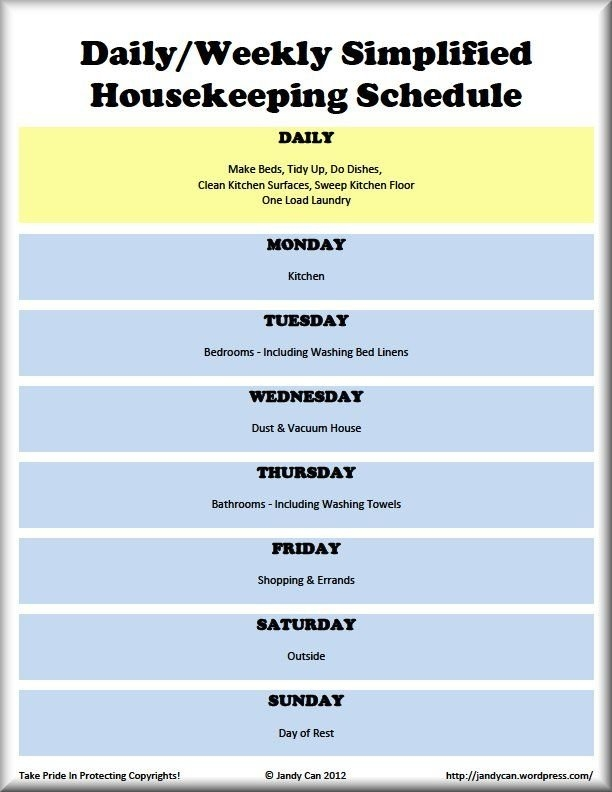 Daily & Weekly Cleaning Schedule :-) Would Rest On Saturday intended for Weekly Sunday-Saturday Schedule
