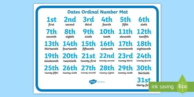Dates Ordinal Number Activity Mat - Ordinal Number Mat (1 -31) throughout Ordinal Calendar
