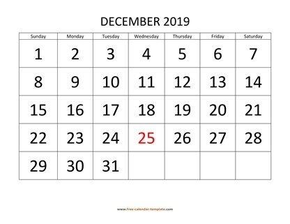 December 2019 Free Calendar Tempplate | Free-Calendar with regard to Printable Calendar Large Spaces