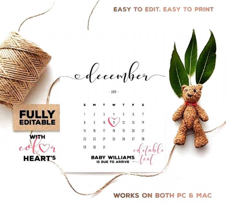 December 2019 Pregnancy Calendar Fully Editable Pdf regarding Printable Baby Due Date Template Photo