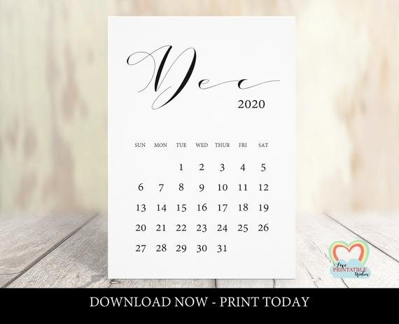 December 2020 Calendar Printable | Baby Due Date December 2020 | Pregnancy  Announcement December 2020 | Instant Download | Save The Date inside Baby Due Date Print Out