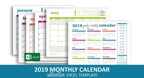 Deluxe Event Calendar 2019 - Excel Template | Printable Monthly Calendar |  Color Coded Events | Instant Digital Download inside Color Coded Calendar Printable Graphics