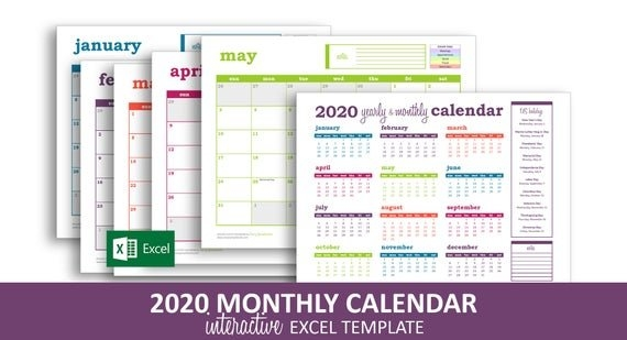 Deluxe Event Calendar 2020 - Excel Template | Printable Monthly Calendar |  Color Coded Events | Instant Digital Download with regard to Color Coded Excel Calendar Photo