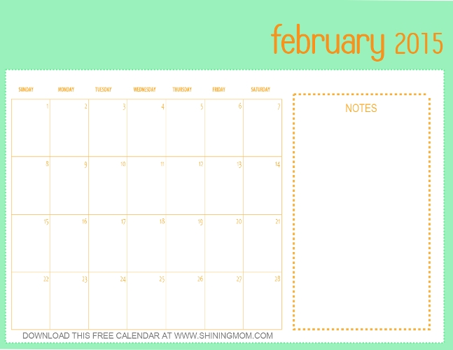 Designs You'll Love: Free Printable February 2015 Calendar intended for Calander You Can Write In Photo