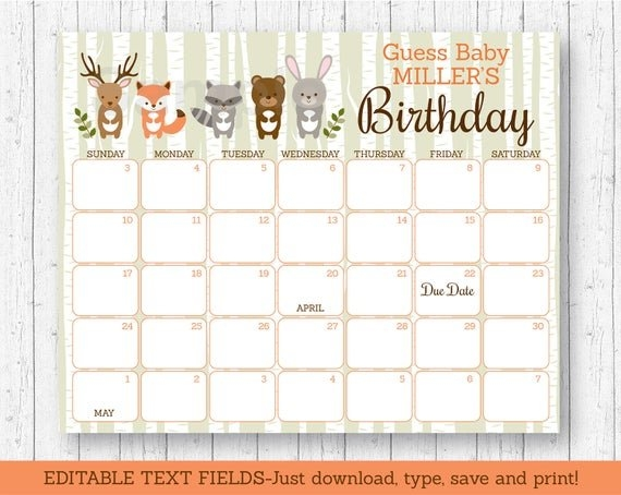 Details About Woodland Animals Baby Due Date Calendar Editable Pdf inside Guess The Due Date Free Calendar Editable Graphics
