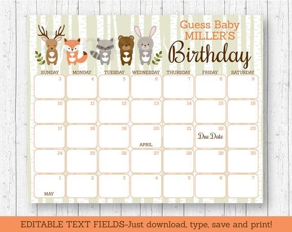 Details About Woodland Animals Baby Due Date Calendar Editable Pdf with Baby Birthday Calendar Graphics