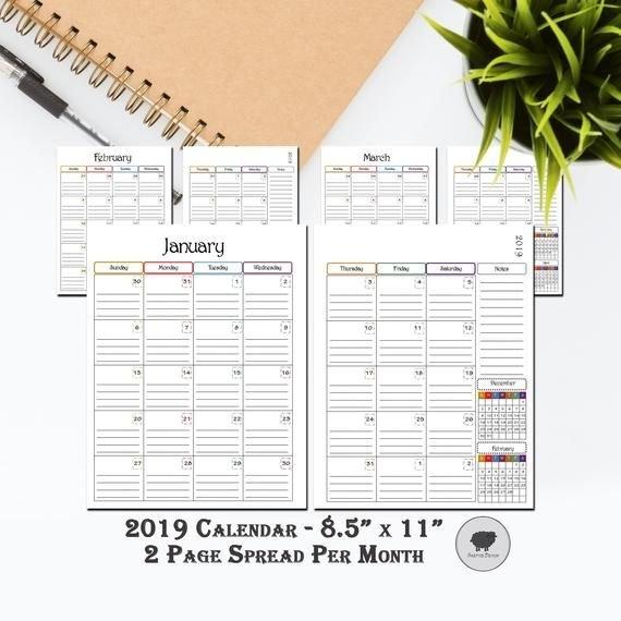 "Digital 2019 Calendar, Printable Calendar, 8 1/2"" X 11 regarding 8 1/2 X 11 Blank Calendar Printable Photo"