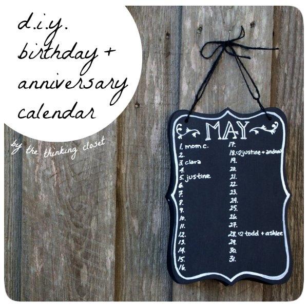 Diy Birthday & Anniversary Calendar - The Thinking Closet inside Guess Baby Birthday Free Calendar