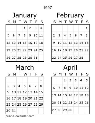 Download 1997 Printable Calendars pertaining to 1997 Calendar