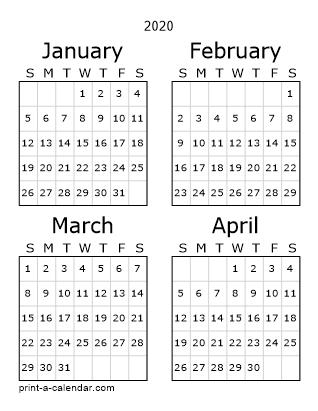 Download 2020 Printable Calendars pertaining to No Frills Basic Calendar 2020 Photo