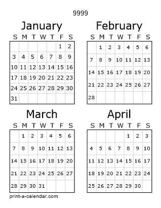 Download 9999 Printable Calendars with 10000 Calendar