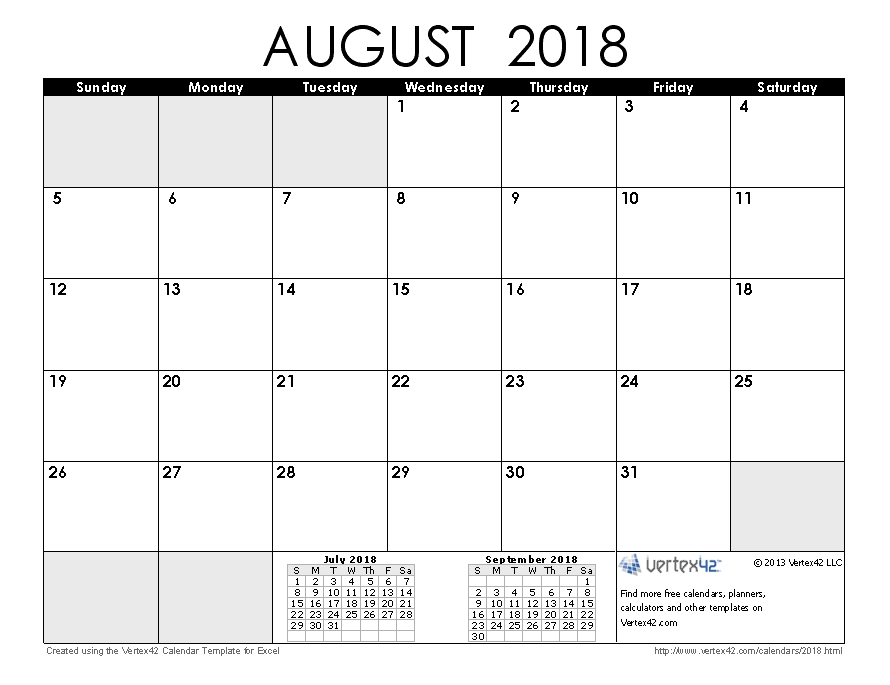 Download A Free August 2018 Calendar From Vertex42 in Understated August Calendar Image