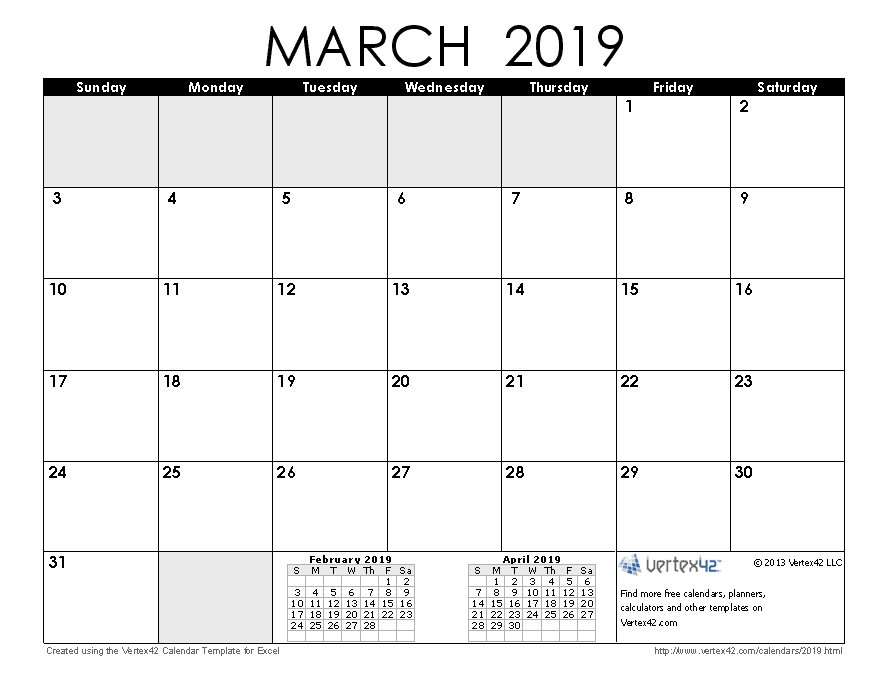 Download A Free March 2019 Calendar From Vertex42 within Vertex42.com 3 Month