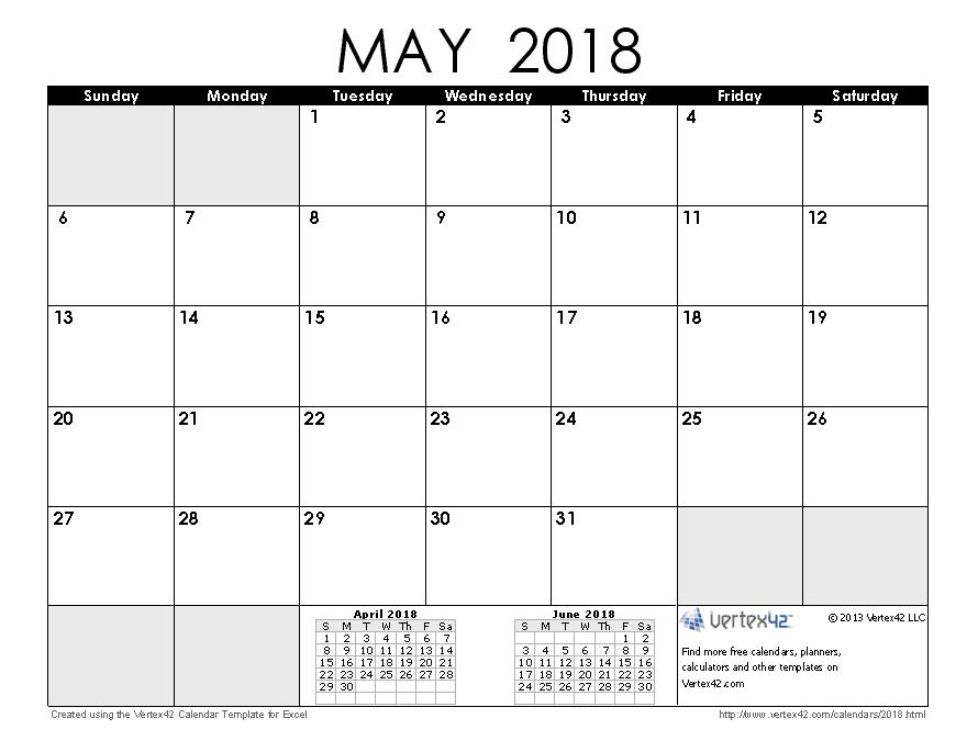 Download A Free May 2018 Calendar From Vertex42 pertaining to Vertex Imprimir Calendasrio Graphics