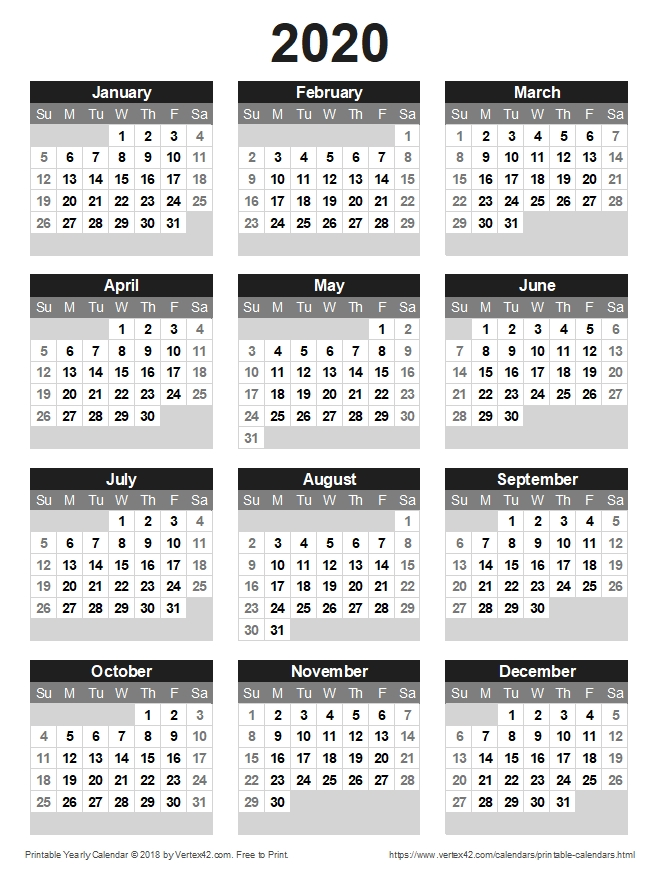 Download A Free Printable 2020 Yearly Calendar From Vertex42 throughout Calendar Lottery Template Graphics