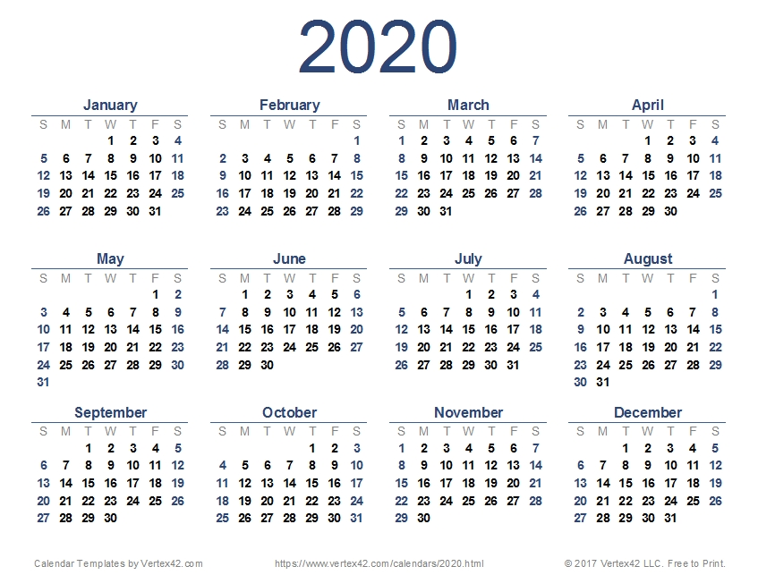Download And Print A Free 2020 Calendar (Pdf) From Vertex42 pertaining to 2020 Calendar Pdf Graphics