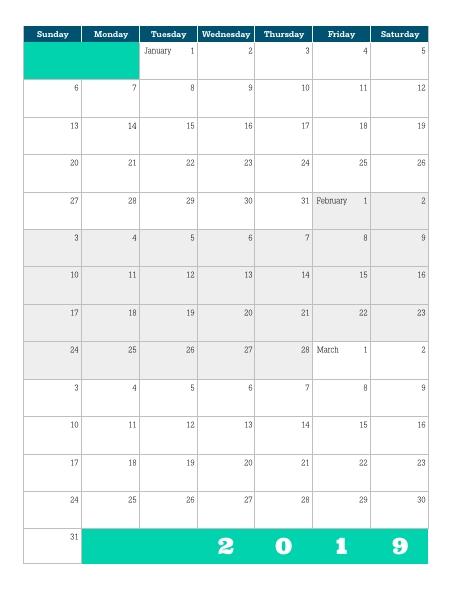Download] Printable 2019 Quarterly Calendar – Lara Willard in Color Coded Calendar Printable