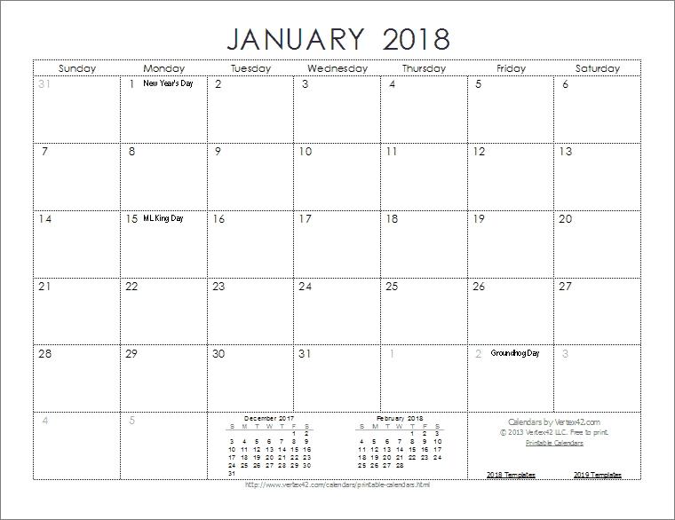 Download The 2018 Ink Saver Calendar From Vertex42 in Vertex Imprimir Calendasrio