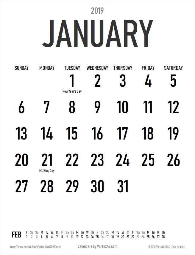 Download The 2019 Large Print Calendar (Portrait) From within Free Printable Large Square Calendars