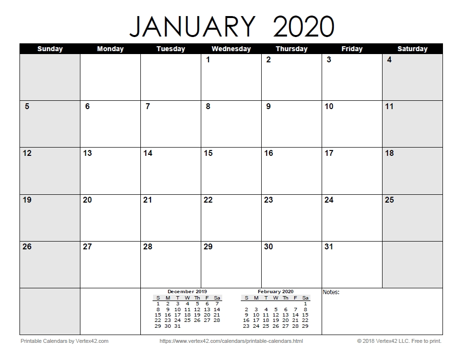Download The Printable Monthly 2020 Calendar | Monthly for 3 Month Calendar 11X17 Printable Image
