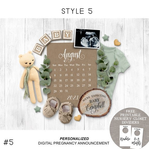 Due Date Calendar, Digital Pregnancy Announcement For Social intended for Calander Baby Due Month