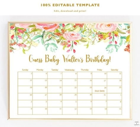 Due Date Calendar Game, Calendar Guess, Guess Baby Due Date with regard to Guess The Date Template Download