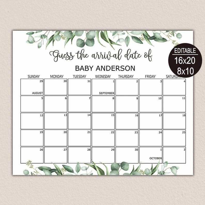 Due Date Calendar Greenery, Guess Baby Birthday Calendar intended for Baby Birthday Calendar Graphics