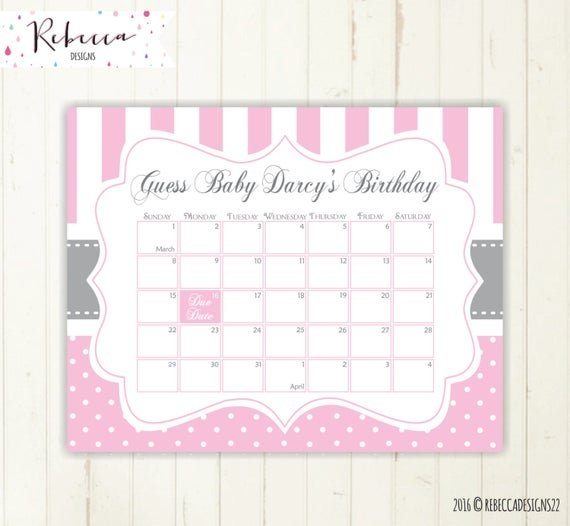 Due Date Calendar Pink Guess The Due Date Calendar Guess The regarding Baby Guess Birthday Free Printable Image