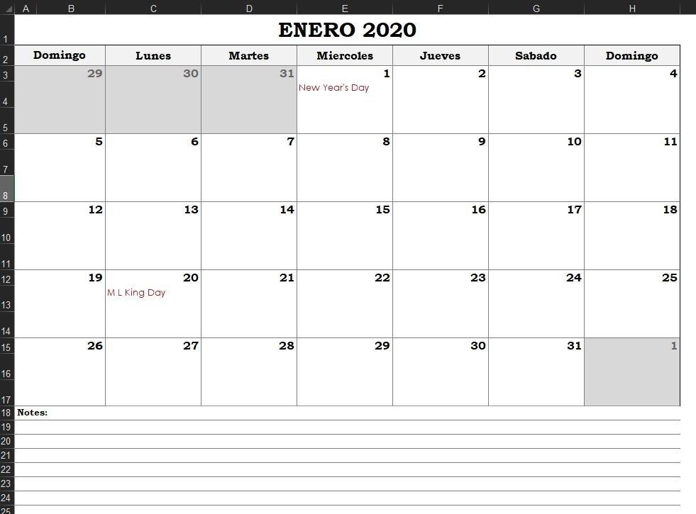 ▷ Descargar Calendario Excel 2020 【Gratis with Excel Calendario Descargar