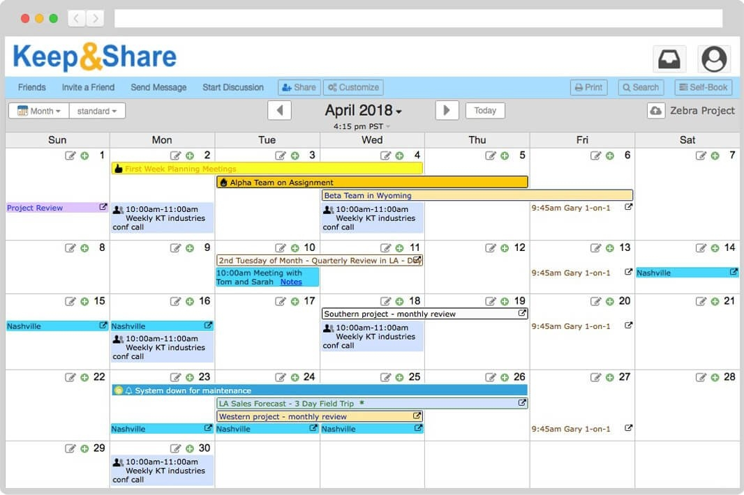 Easy-To-Use Free Online Calendar | Keepandshare within Color Coded Calendar Months