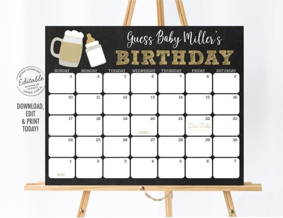Editable Baby Is Brewing Baby Due Date Calendar Beer Baby in Printable Baby Guess Date Chart