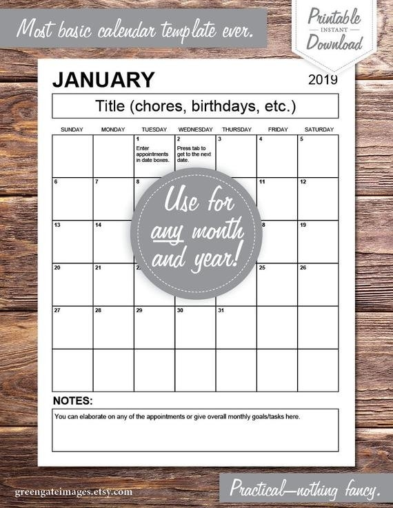 Editable Calendar Pdf: Any Year, Fillable, Printable, Monthly Planner, Meal  Planner, Digital Download, Calendar Template, One Month Calendar intended for Nofrillcalendars.com
