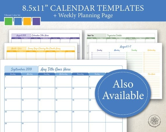 "Editable Calendar Templates: 8.5X11"" Landscape Calendar Pages, Printable,  Any Month And Year, Blank Monthly Planner, Space Notes Holidays for 8.5X11 Sept Calendar Page Photo"