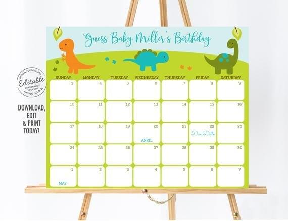 Editable Dinosaur Baby Due Date Calendar Game, Dinosaur Baby inside Guess Baby Birthday Free Calendar