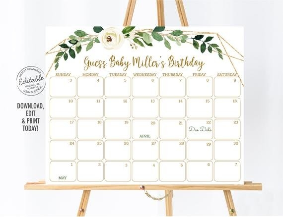 Editable Greenery Baby Due Date Calendar Birthday intended for Baby Due Date Print Out